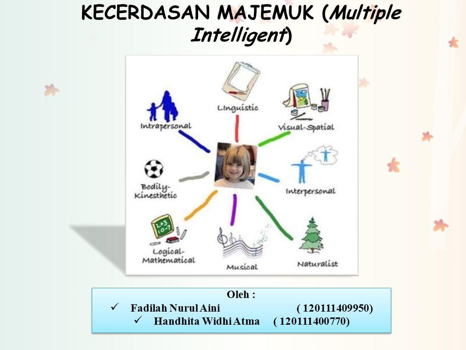 KECERDASAN MAJEMUK (Multiple Intelligent) Oleh : Fadilah Nurul Aini( 120111409950) Handhita Widhi Atma( 120111400770) Oleh : Fadilah Nurul Aini( 12011