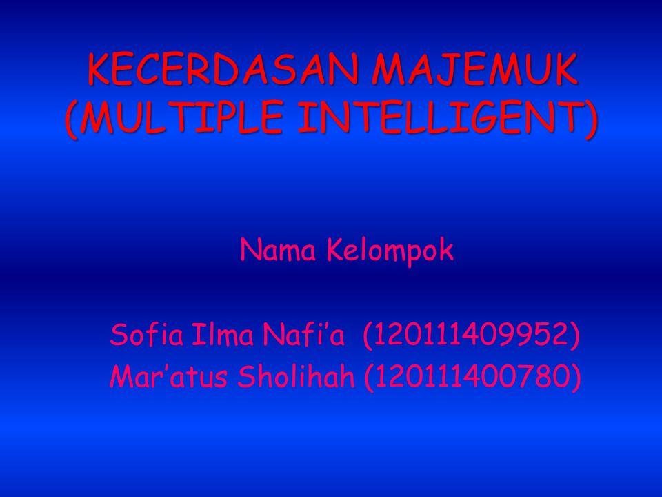 KECERDASAN MAJEMUK (MULTIPLE INTELLIGENT) Nama Kelompok Sofia Ilma Nafi'a (120111409952) Mar'atus Sholihah (120111400780)