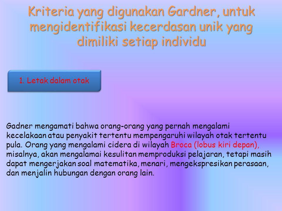 Kriteria yang digunakan Gardner, untuk mengidentifikasi kecerdasan unik yang dimiliki setiap individu Gadner mengamati bahwa orang-orang yang pernah mengalami kecelakaan atau penyakit tertentu mempengaruhi wilayah otak tertentu pula.