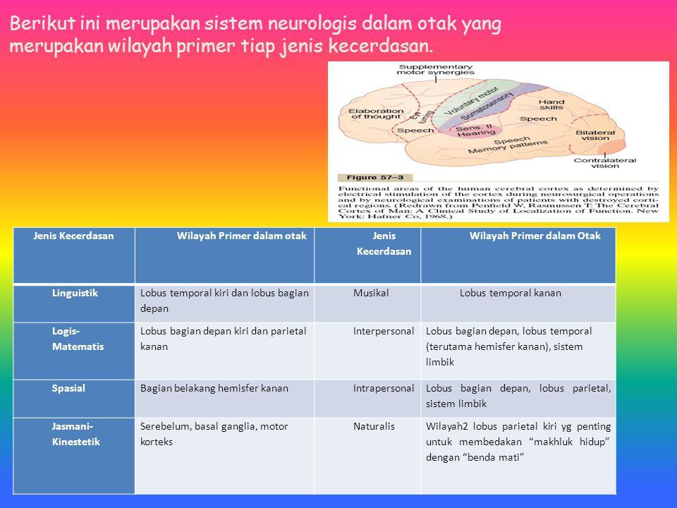 Berikut ini merupakan sistem neurologis dalam otak yang merupakan wilayah primer tiap jenis kecerdasan.