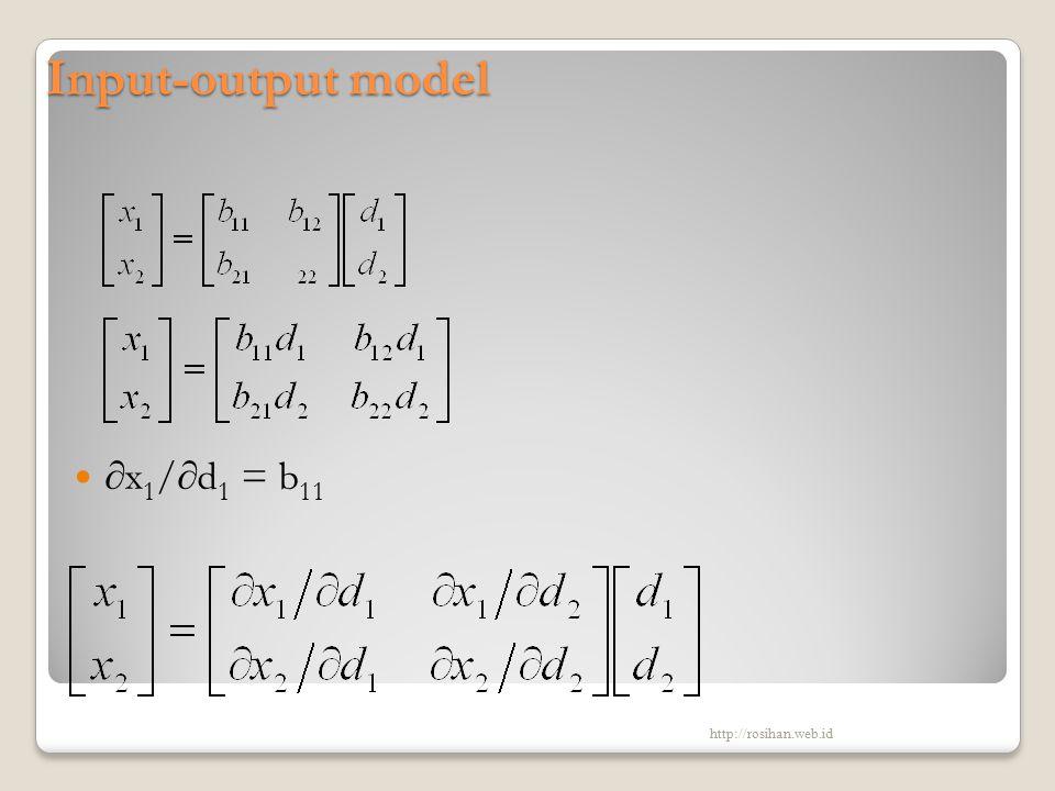 Input-output model ∂x 1 /∂d 1 = b 11 http://rosihan.web.id