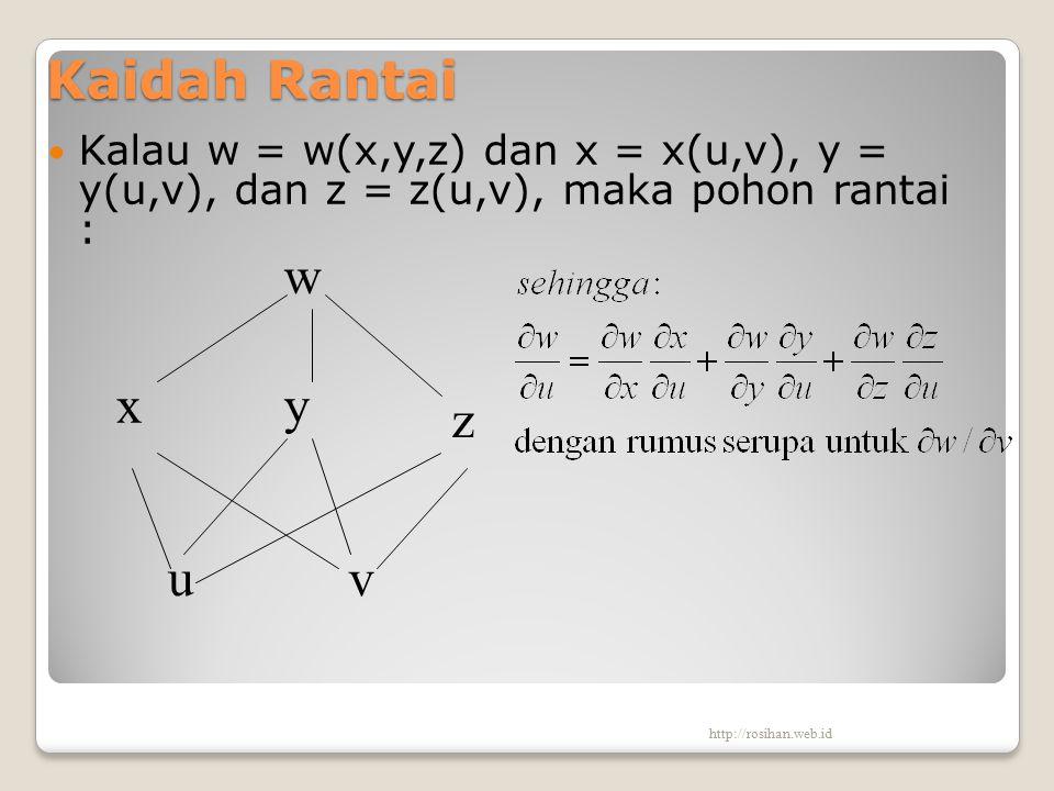 Kaidah Rantai Kalau w = w(x,y,z) dan x = x(u,v), y = y(u,v), dan z = z(u,v), maka pohon rantai : w y v z u x http://rosihan.web.id