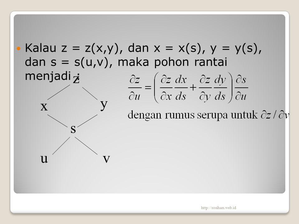 Kalau z = z(x,y), dan x = x(s), y = y(s), dan s = s(u,v), maka pohon rantai menjadi : z x u s y v http://rosihan.web.id