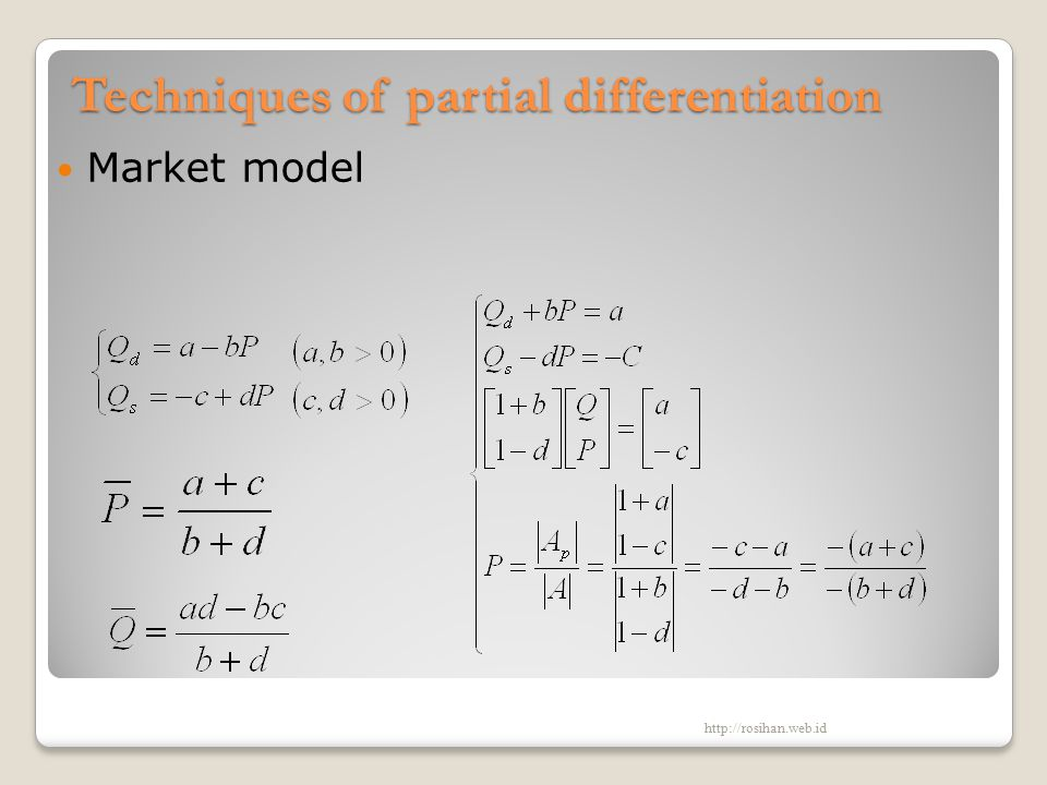 Techniques of partial differentiation Market model http://rosihan.web.id