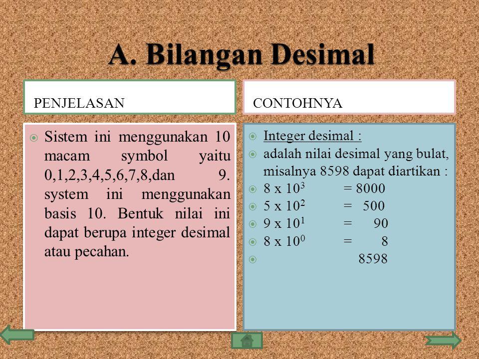 PENJELASANCONTOHNYA  Sistem ini menggunakan 10 macam symbol yaitu 0,1,2,3,4,5,6,7,8,dan 9. system ini menggunakan basis 10. Bentuk nilai ini dapat be