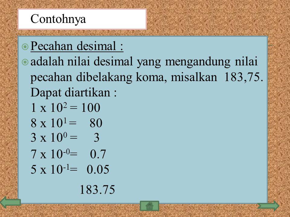  Pecahan desimal :  adalah nilai desimal yang mengandung nilai pecahan dibelakang koma, misalkan 183,75. Dapat diartikan : 1 x 10 2 = 100 8 x 10 1 =