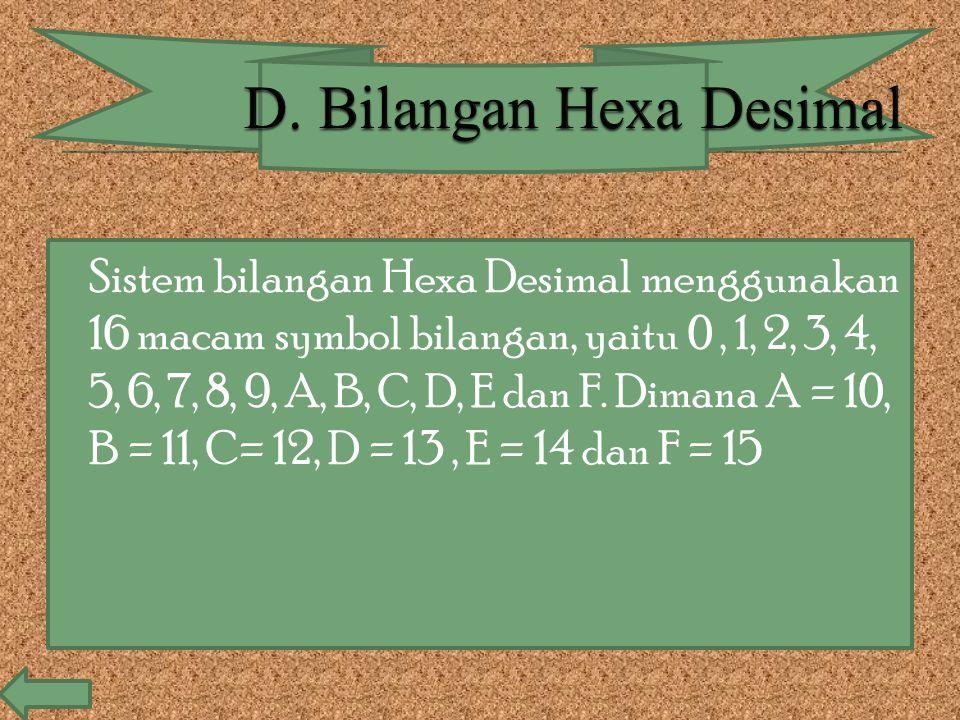  Sistem bilangan Hexa Desimal menggunakan 16 macam symbol bilangan, yaitu 0, 1, 2, 3, 4, 5, 6, 7, 8, 9, A, B, C, D, E dan F. Dimana A = 10, B = 11, C