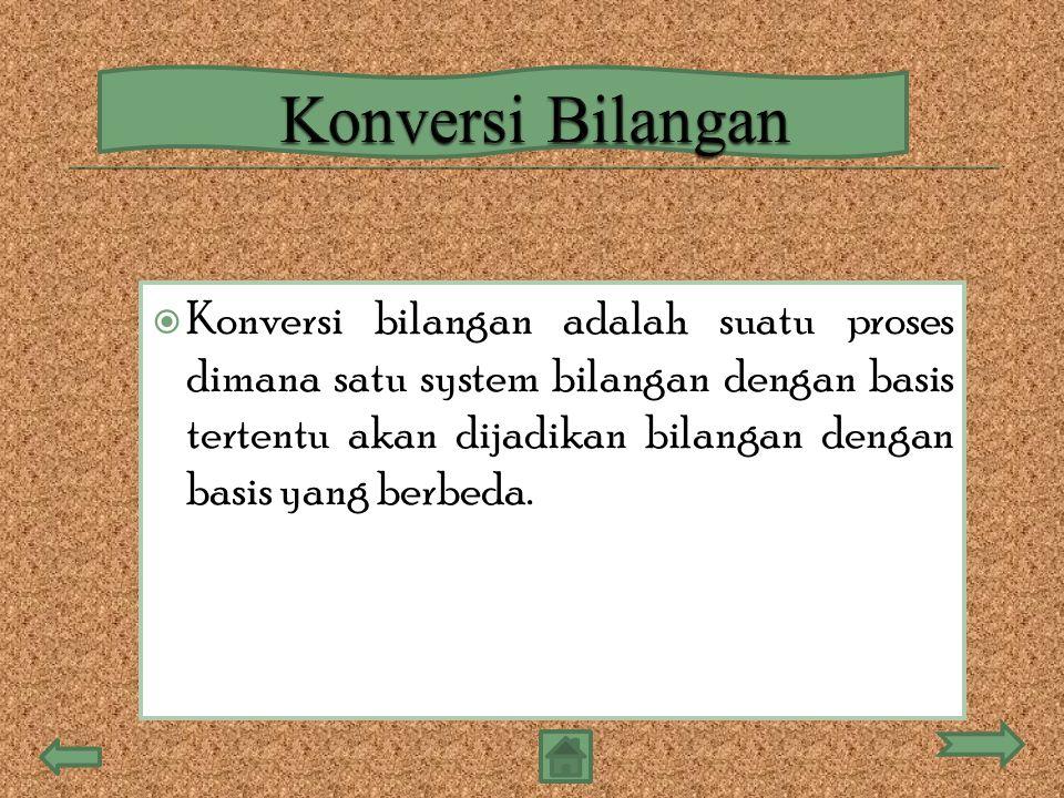  Konversi bilangan adalah suatu proses dimana satu system bilangan dengan basis tertentu akan dijadikan bilangan dengan basis yang berbeda.
