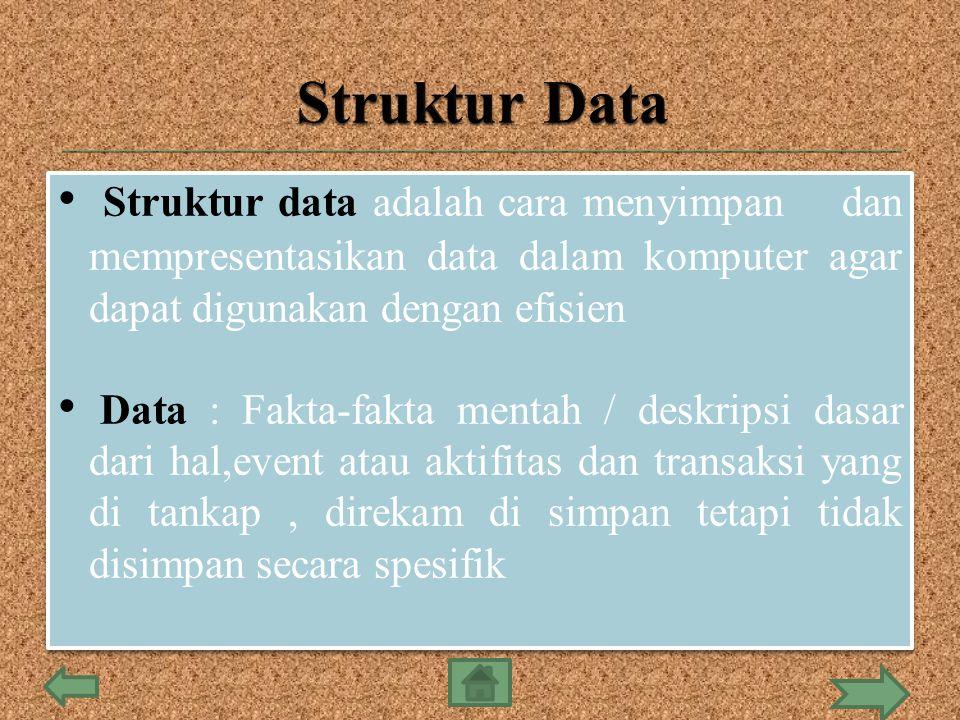 Struktur data adalah cara menyimpan dan mempresentasikan data dalam komputer agar dapat digunakan dengan efisien Data : Fakta-fakta mentah / deskripsi dasar dari hal,event atau aktifitas dan transaksi yang di tankap, direkam di simpan tetapi tidak disimpan secara spesifik Struktur data adalah cara menyimpan dan mempresentasikan data dalam komputer agar dapat digunakan dengan efisien Data : Fakta-fakta mentah / deskripsi dasar dari hal,event atau aktifitas dan transaksi yang di tankap, direkam di simpan tetapi tidak disimpan secara spesifik