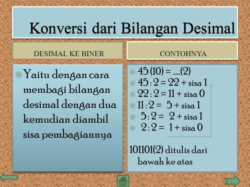 DESIMAL KE BINER CONTOHNYA  Yaitu dengan cara membagi bilangan desimal dengan dua kemudian diambil sisa pembagiannya  45 (10) = …..(2)  45 : 2 = 22 + sisa 1  22 : 2 = 11 + sisa 0  11 : 2 = 5 + sisa 1  5 : 2 = 2 + sisa 1  2 : 2 = 1 + sisa 0 101101(2) ditulis dari bawah ke atas