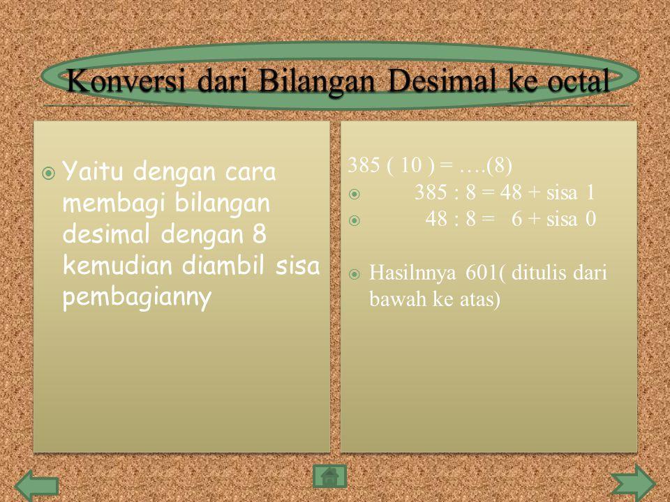  Yaitu dengan cara membagi bilangan desimal dengan 8 kemudian diambil sisa pembagianny 385 ( 10 ) = ….(8)  385 : 8 = 48 + sisa 1  48 : 8 = 6 + sisa 0  Hasilnnya 601( ditulis dari bawah ke atas) 385 ( 10 ) = ….(8)  385 : 8 = 48 + sisa 1  48 : 8 = 6 + sisa 0  Hasilnnya 601( ditulis dari bawah ke atas)
