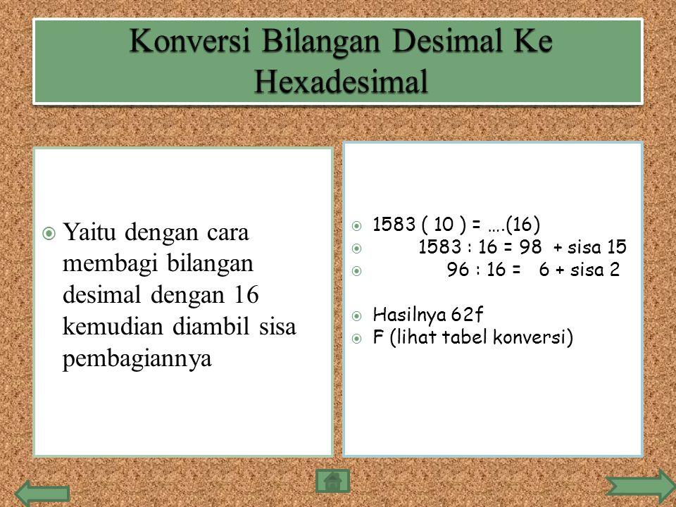  Yaitu dengan cara membagi bilangan desimal dengan 16 kemudian diambil sisa pembagiannya  1583 ( 10 ) = ….(16)  1583 : 16 = 98 + sisa 15  96 : 16 = 6 + sisa 2  Hasilnya 62f  F (lihat tabel konversi)