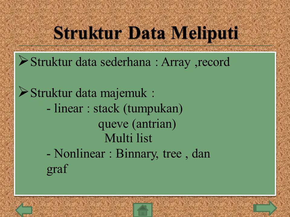  Struktur data sederhana : Array,record  Struktur data majemuk : - linear : stack (tumpukan) queve (antrian) Multi list - Nonlinear : Binnary, tree,