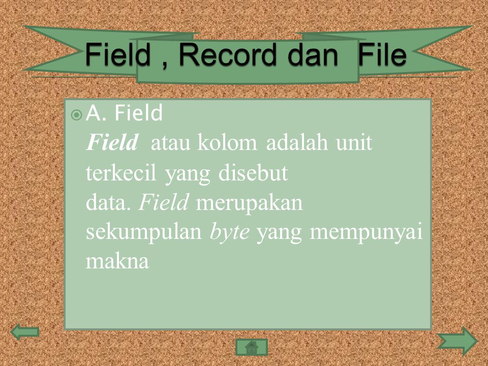  A. Field Field atau kolom adalah unit terkecil yang disebut data. Field merupakan sekumpulan byte yang mempunyai makna