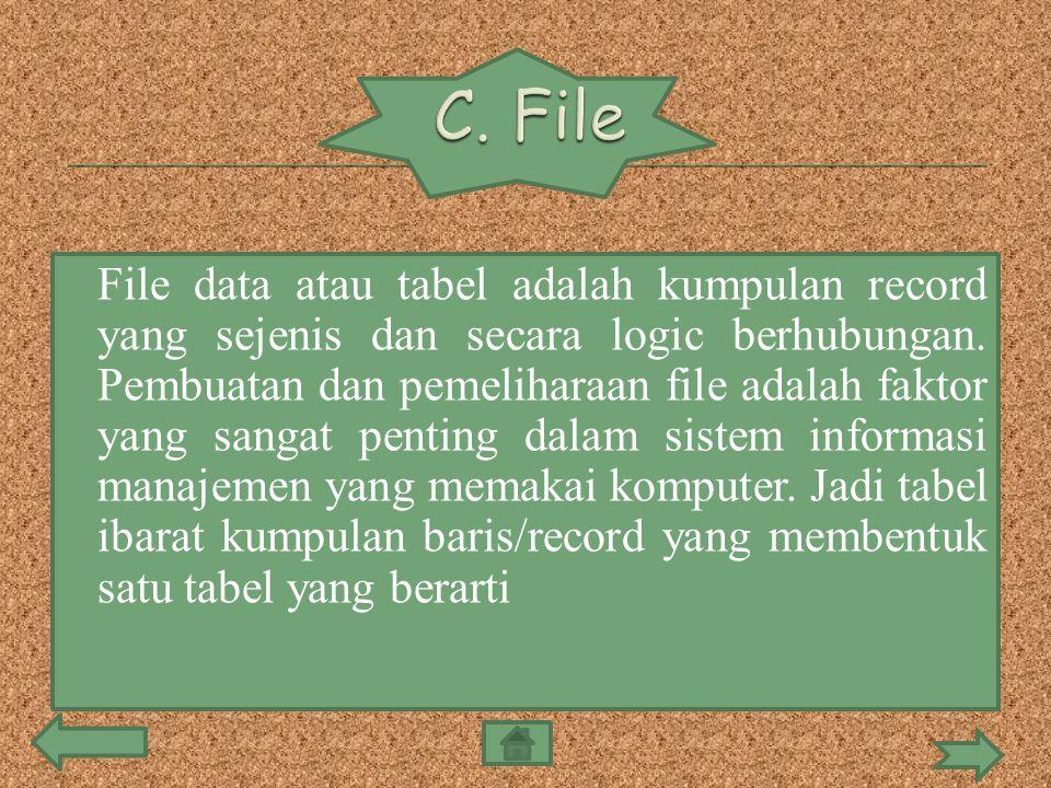  File data atau tabel adalah kumpulan record yang sejenis dan secara logic berhubungan. Pembuatan dan pemeliharaan file adalah faktor yang sangat pen