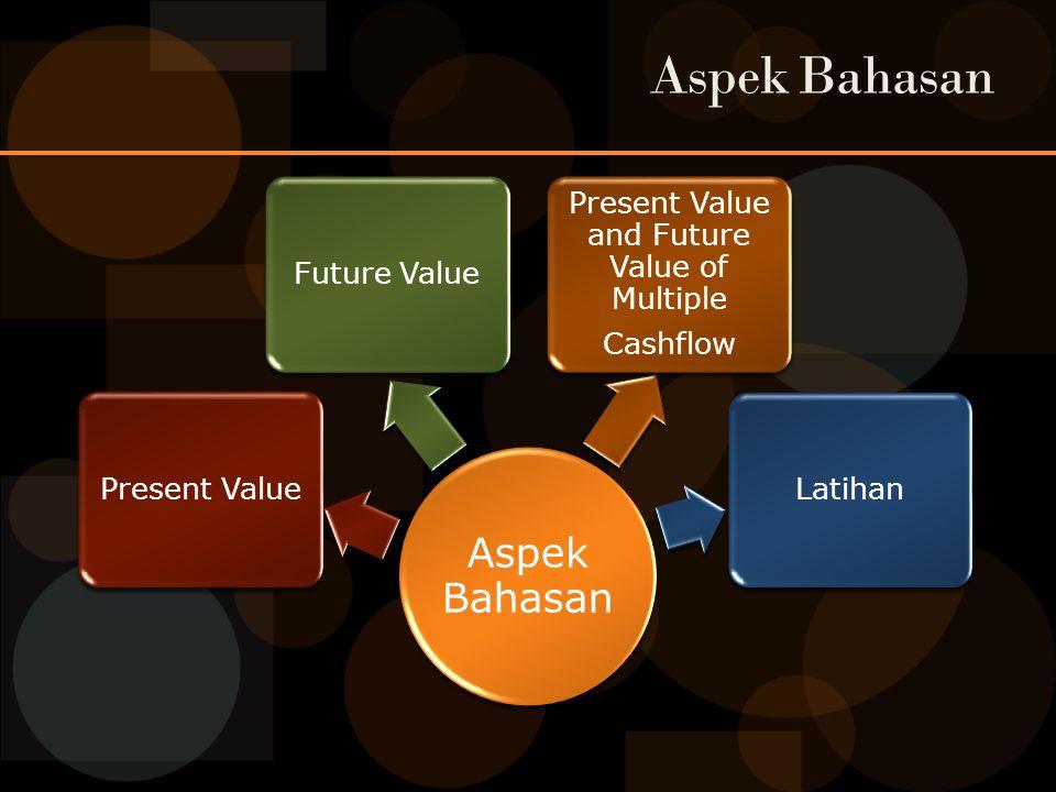 Aspek Bahasan Present ValueFuture Value Present Value and Future Value of Multiple Cashflow Latihan