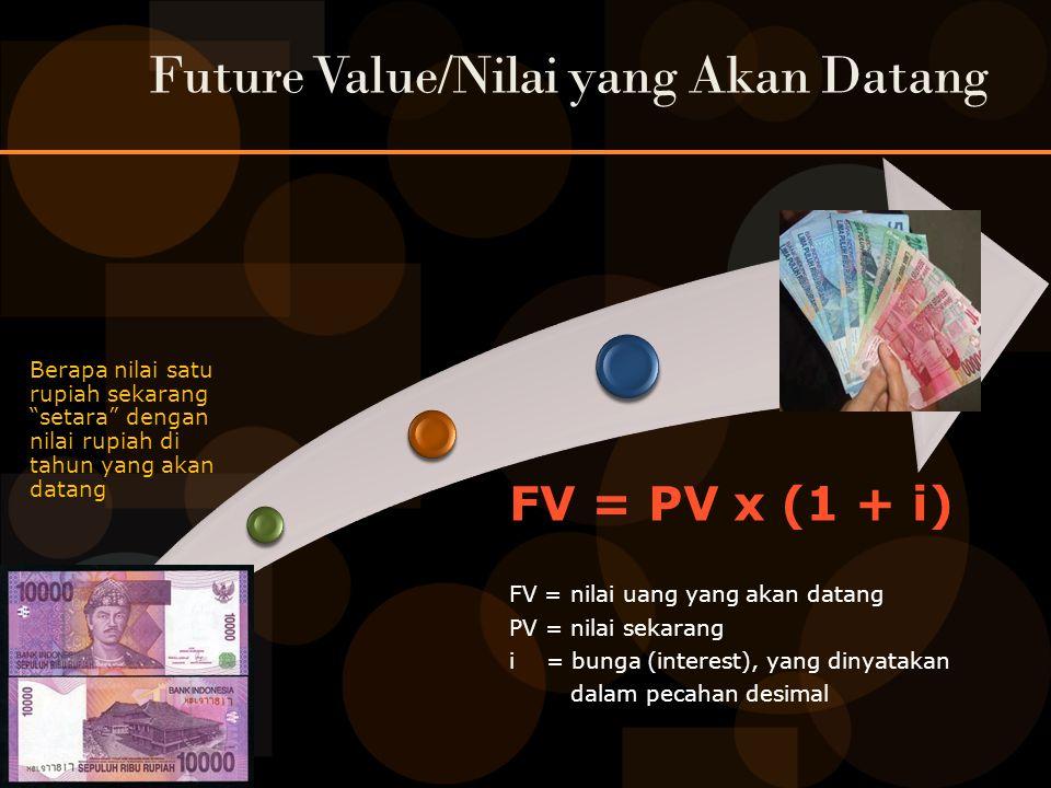 Future Value/Nilai yang Akan Datang Berapa nilai satu rupiah sekarang setara dengan nilai rupiah di tahun yang akan datang FV = PV x (1 + i) FV = nilai uang yang akan datang PV = nilai sekarang i = bunga (interest), yang dinyatakan dalam pecahan desimal