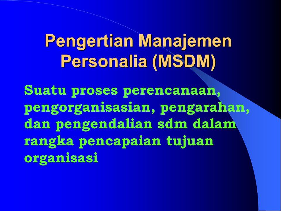 Pengertian Manajemen Personalia (MSDM) Suatu proses perencanaan, pengorganisasian, pengarahan, dan pengendalian sdm dalam rangka pencapaian tujuan organisasi