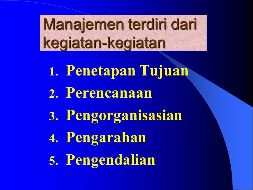 Manajemen terdiri dari kegiatan-kegiatan 1.Penetapan Tujuan 2.