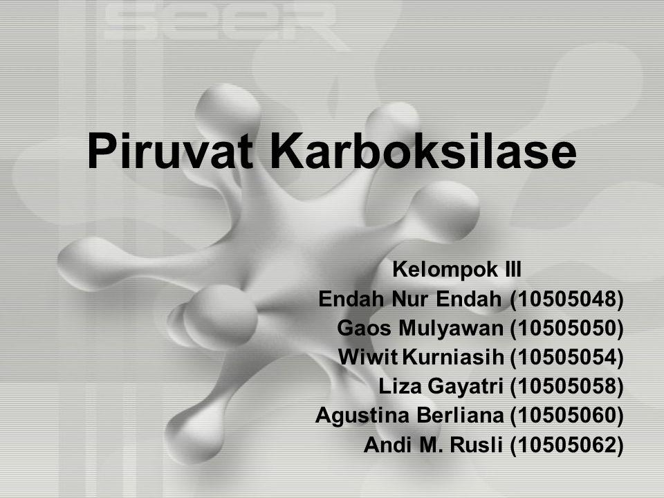 Piruvat Karboksilase Kelompok III Endah Nur Endah (10505048) Gaos Mulyawan (10505050) Wiwit Kurniasih (10505054) Liza Gayatri (10505058) Agustina Berliana (10505060) Andi M.