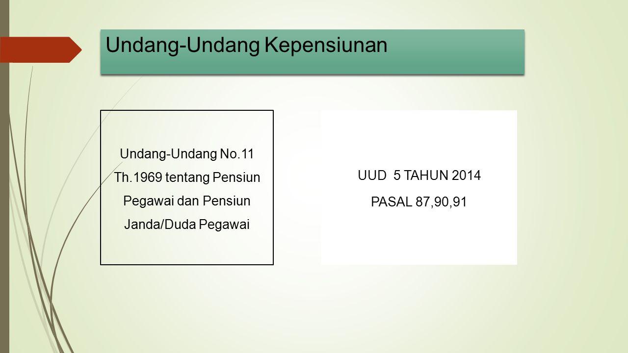 Undang-Undang Kepensiunan Undang-Undang No.11 Th.1969 tentang Pensiun Pegawai dan Pensiun Janda/Duda Pegawai UUD 5 TAHUN 2014 PASAL 87,90,91