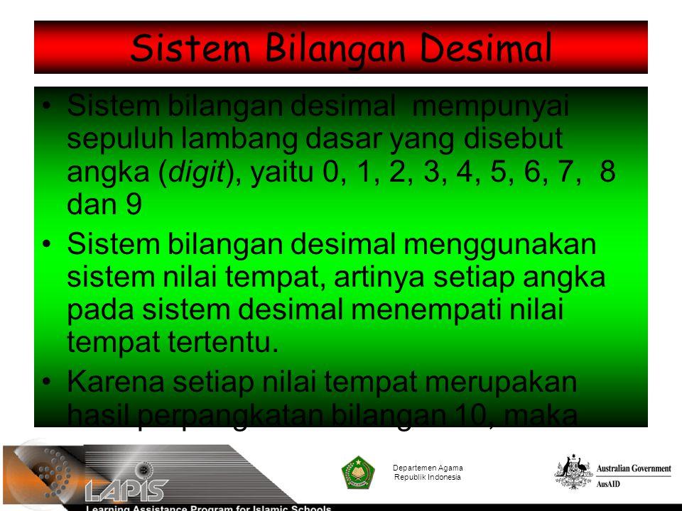 Sistem Bilangan Desimal Sistem bilangan desimal mempunyai sepuluh lambang dasar yang disebut angka (digit), yaitu 0, 1, 2, 3, 4, 5, 6, 7, 8 dan 9 Sist