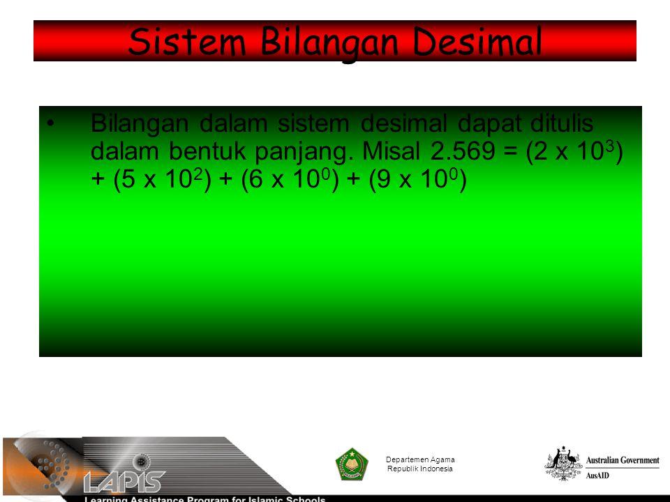 Sistem Bilangan Desimal Bilangan dalam sistem desimal dapat ditulis dalam bentuk panjang. Misal 2.569 = (2 x 10 3 ) + (5 x 10 2 ) + (6 x 10 0 ) + (9 x