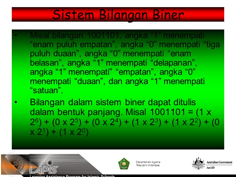 """Sistem Bilangan Biner Misal bilangan 1001101, angka """"1"""" menempati """"enam puluh empatan"""", angka """"0"""" menempati """"tiga puluh duaan"""", angka """"0"""" menempati """"e"""