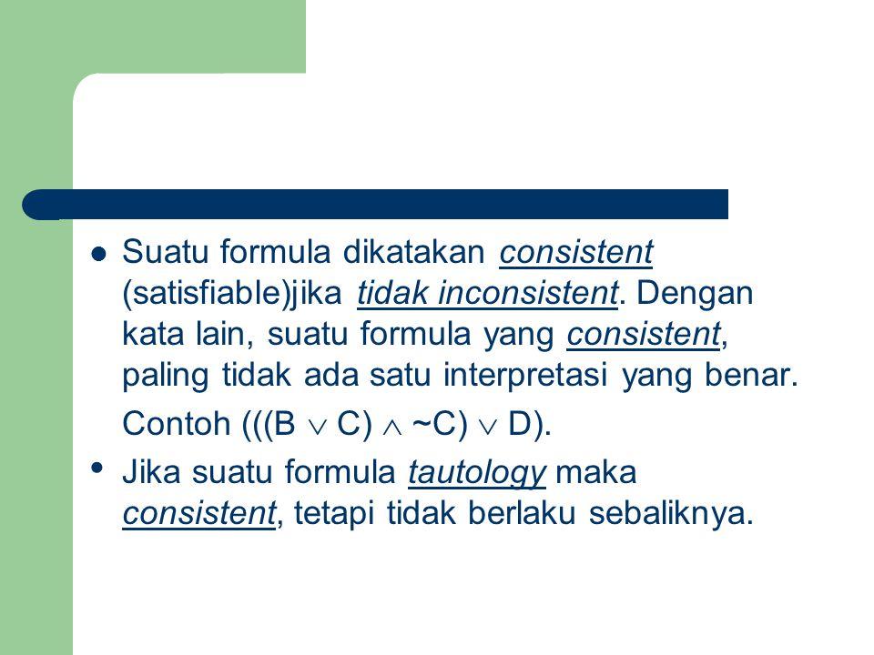 HUKUM PROPOSISIONAL P, Q,DAN R 1.Hukum de Morgan :  (P  Q)  (  P  Q) 2.Hukum de Morgan :  (P  Q)  (  P  Q) 3.Hukum distributif : P  (Q  R)  (P  Q)  (P  R) P  (Q  R)  (P  Q)  (P  R) 4.Hukum komutatif : (P  Q)  (Q  P) (P  Q)  (Q  P) 5.Hukum asosiatif : ((P  Q)  R)  (P  (Q  R)) ((P  Q)  R)  (P  (Q  R)) 6.Hukum kontrapositif : (P  Q)  (Q   P)