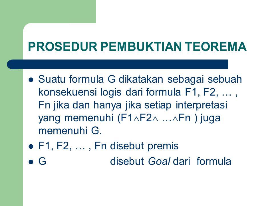 Formula G adalah konsekuensi logis dari premis F1, F2, …, Fn jika dan hanya jika ((F1  F2  …  Fn)  G) adalah Tautology.