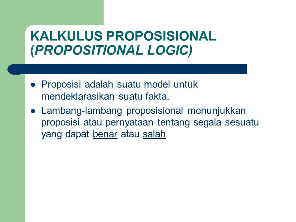 KALKULUS PROPOSISIONAL (PROPOSITIONAL LOGIC) Proposisi adalah suatu model untuk mendeklarasikan suatu fakta. Lambang-lambang proposisional menunjukkan