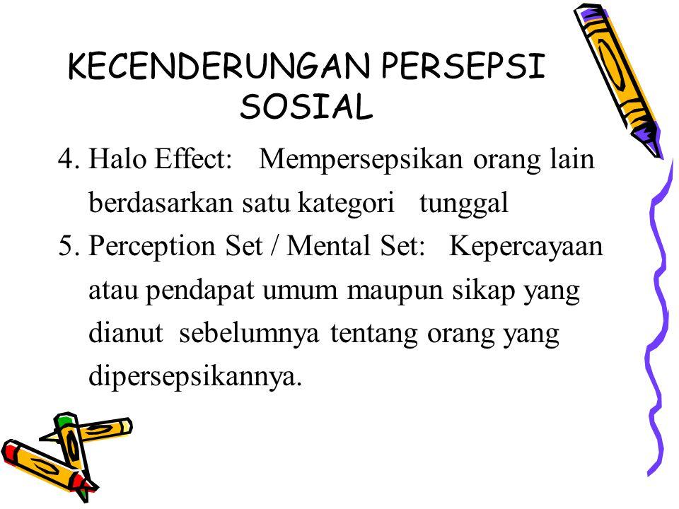 KECENDERUNGAN PERSEPSI SOSIAL 4.