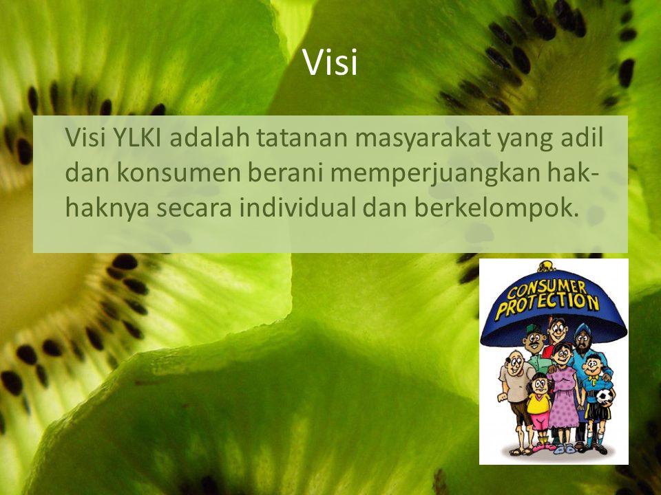 Visi Visi YLKI adalah tatanan masyarakat yang adil dan konsumen berani memperjuangkan hak- haknya secara individual dan berkelompok.