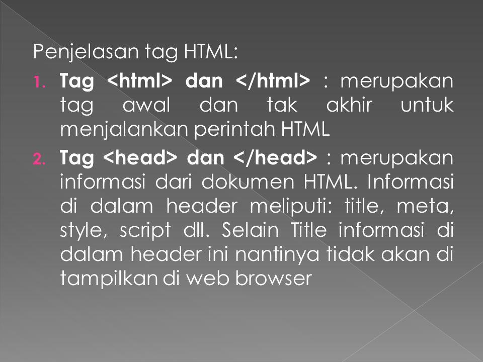 Penjelasan tag HTML: 1.