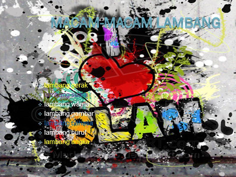  lambang gerak  lambang suara  lambang warna  lambang gambar  lambang bahasa  lambang huruf  lambang angka