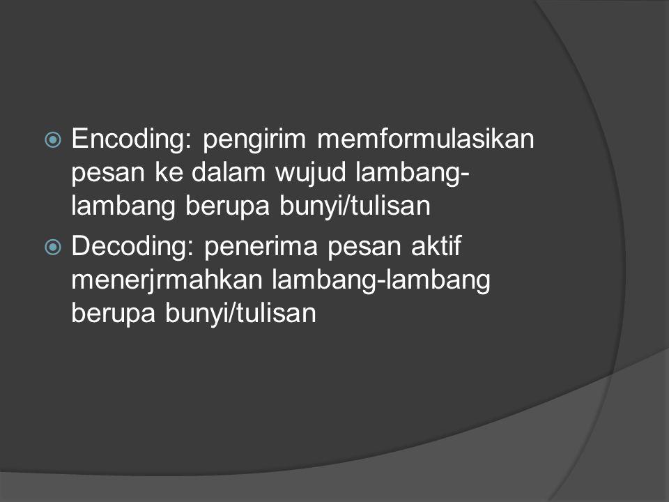  Encoding: pengirim memformulasikan pesan ke dalam wujud lambang- lambang berupa bunyi/tulisan  Decoding: penerima pesan aktif menerjrmahkan lambang