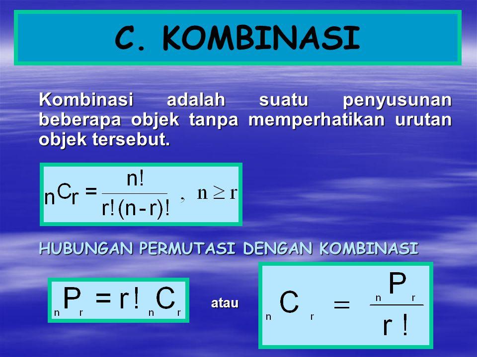 C. KOMBINASI Kombinasi adalah suatu penyusunan beberapa objek tanpa memperhatikan urutan objek tersebut. HUBUNGAN PERMUTASI DENGAN KOMBINASI atau