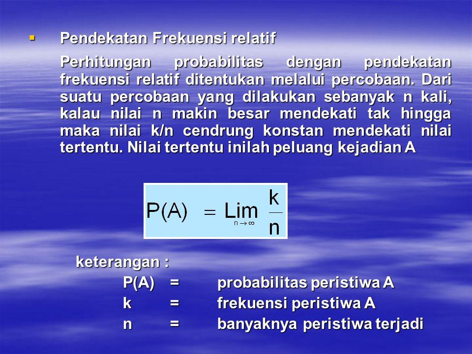  Pendekatan Frekuensi relatif Perhitungan probabilitas dengan pendekatan frekuensi relatif ditentukan melalui percobaan. Dari suatu percobaan yang di