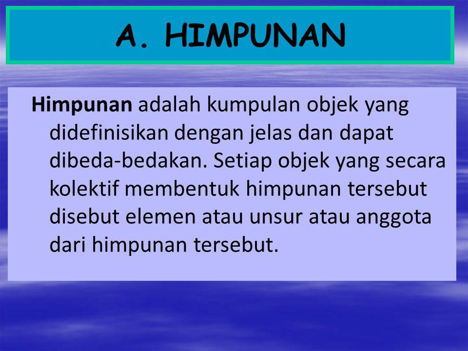 A. HIMPUNAN Himpunan adalah kumpulan objek yang didefinisikan dengan jelas dan dapat dibeda-bedakan. Setiap objek yang secara kolektif membentuk himpu