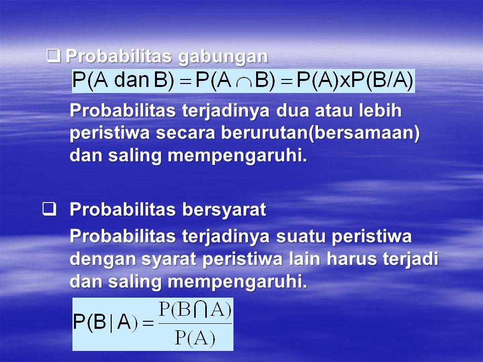  Probabilitas gabungan Probabilitas terjadinya dua atau lebih peristiwa secara berurutan(bersamaan) dan saling mempengaruhi.  Probabilitas bersyarat
