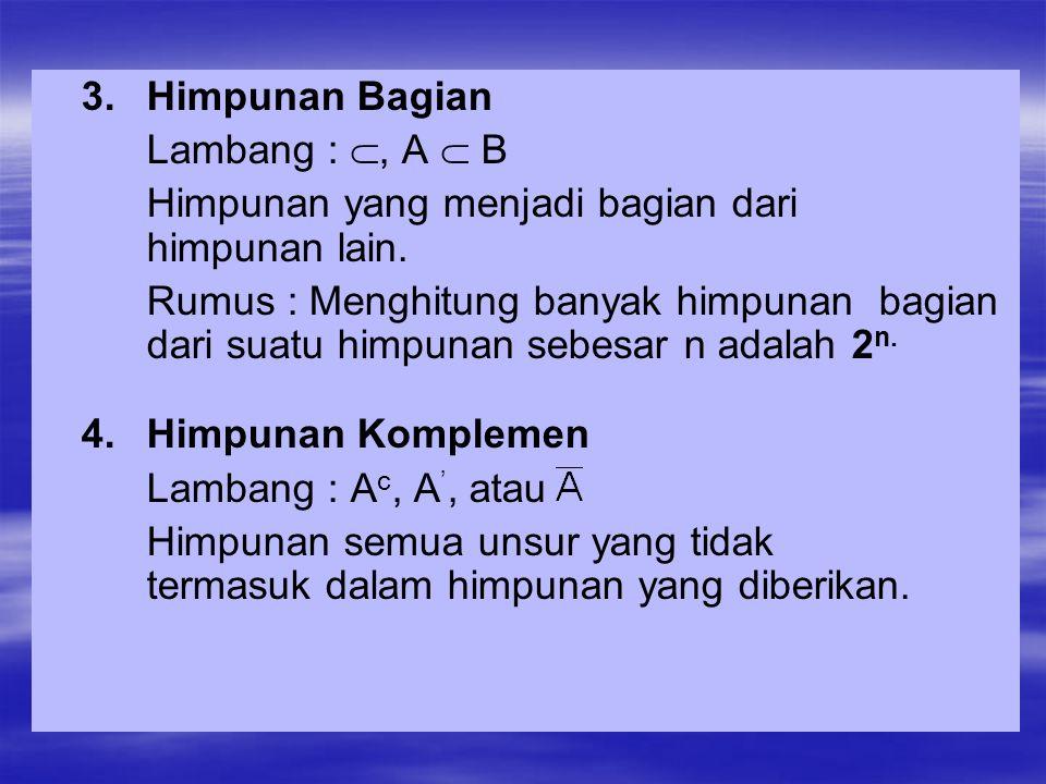 1.Operasi Gabungan (union) Lambang : A U B atau A + B Gabungan dari himpunan A atau B adalah semua unsur yang terdapat di A atau B sekaligus.