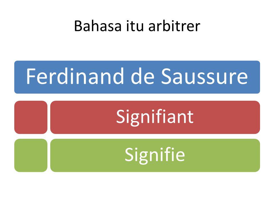 Bahasa itu arbitrer Ferdinand de Saussure SignifiantSignifie