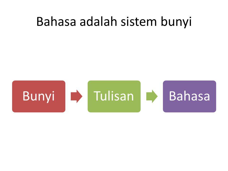 Bahasa itu bermakna Bahasa itu sistem lambang yang berwujud bunyi.