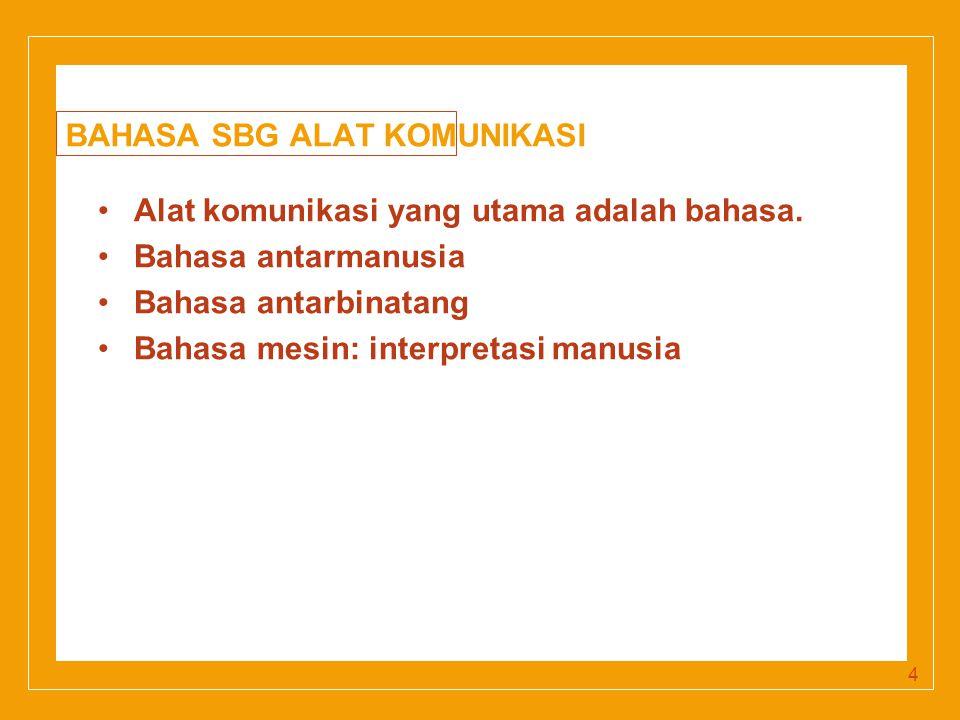 Click to edit Master title style BAHASA SBG ALAT KOMUNIKASI Alat komunikasi yang utama adalah bahasa.