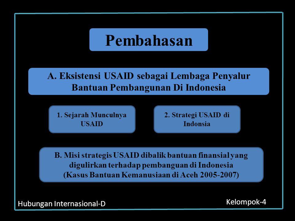 Hubungan Internasional-D Kelompok-4 Pembahasan A. Eksistensi USAID sebagai Lembaga Penyalur Bantuan Pembangunan Di Indonesia 1. Sejarah Munculnya USAI