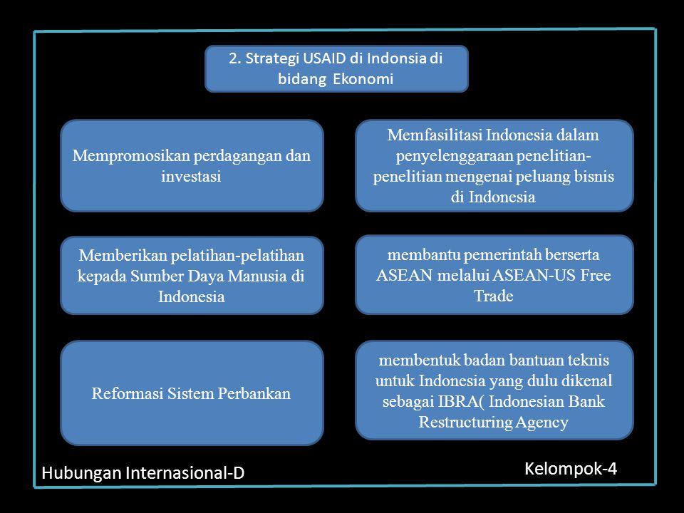 Hubungan Internasional-D Kelompok-4 2. Strategi USAID di Indonsia di bidang Ekonomi Mempromosikan perdagangan dan investasi Memfasilitasi Indonesia da