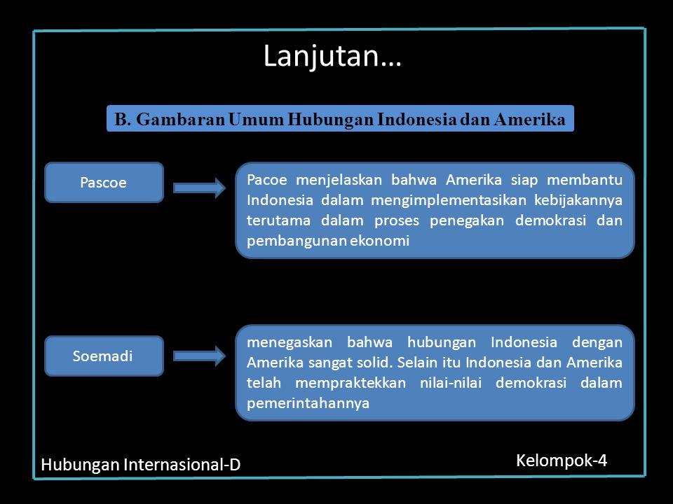 Hubungan Internasional-D Kelompok-4 Lanjutan… Pascoe Pacoe menjelaskan bahwa Amerika siap membantu Indonesia dalam mengimplementasikan kebijakannya te