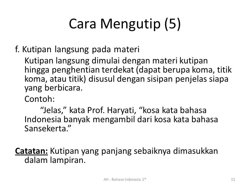 Cara Mengutip (5) f.