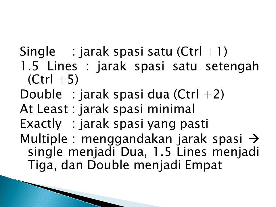 Single : jarak spasi satu (Ctrl +1) 1.5 Lines : jarak spasi satu setengah (Ctrl +5) Double : jarak spasi dua (Ctrl +2) At Least : jarak spasi minimal