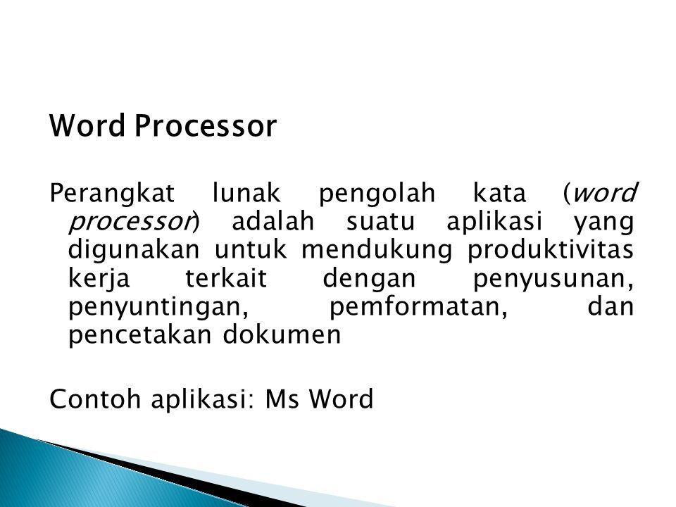 Word Processor Perangkat lunak pengolah kata (word processor) adalah suatu aplikasi yang digunakan untuk mendukung produktivitas kerja terkait dengan